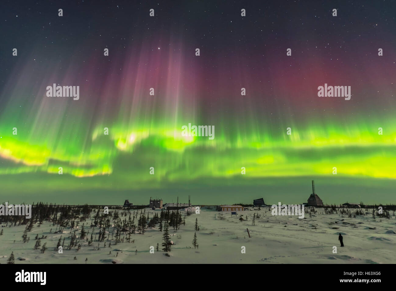 A superb display of aurora borealis seen on March 14, 2016 when it reached Level 5 storm levels. This was as the - Stock Image