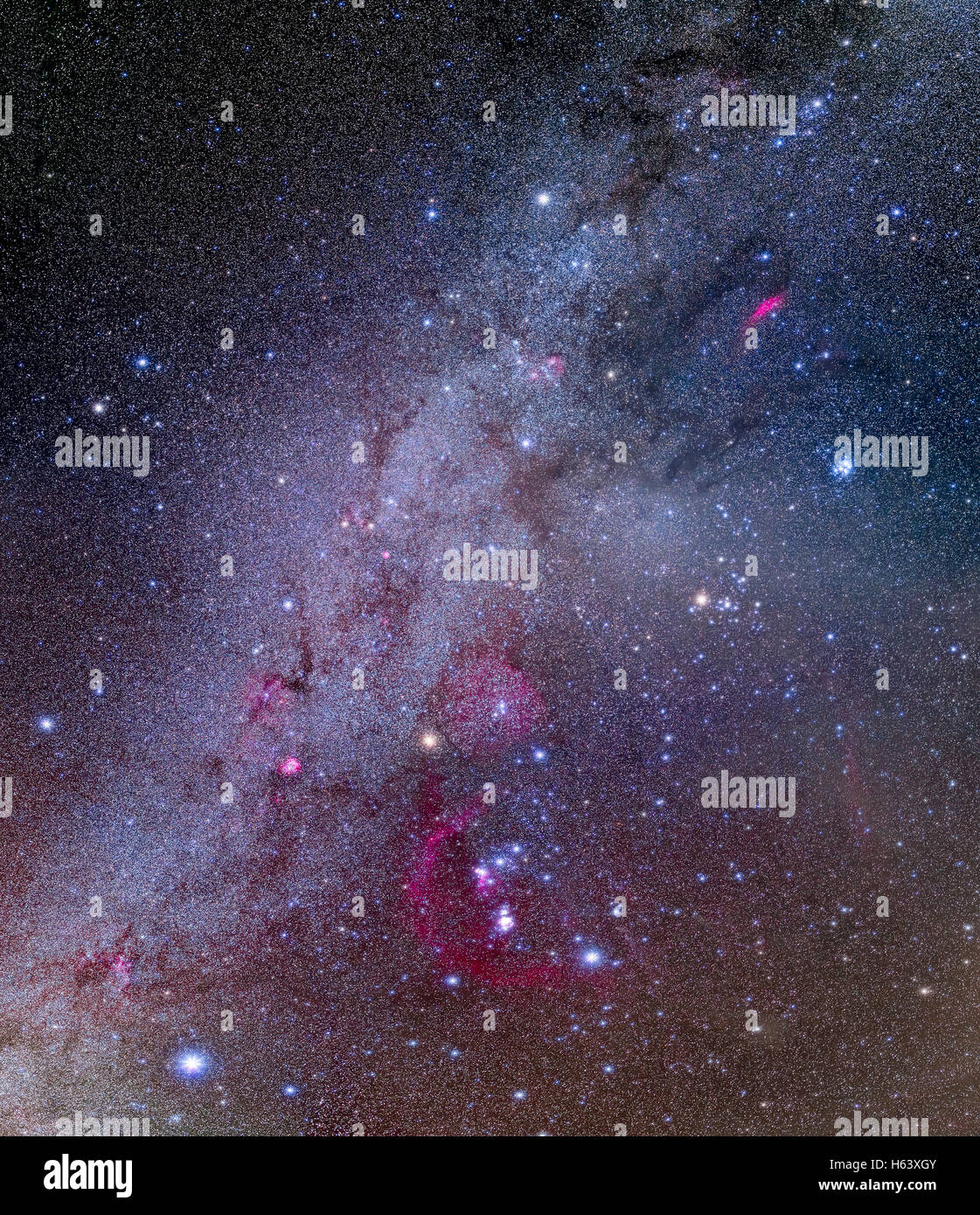 A mosaic of the northern winter Milky Way and brilliant stars and constellations in and around Orion the Hunter. - Stock Image