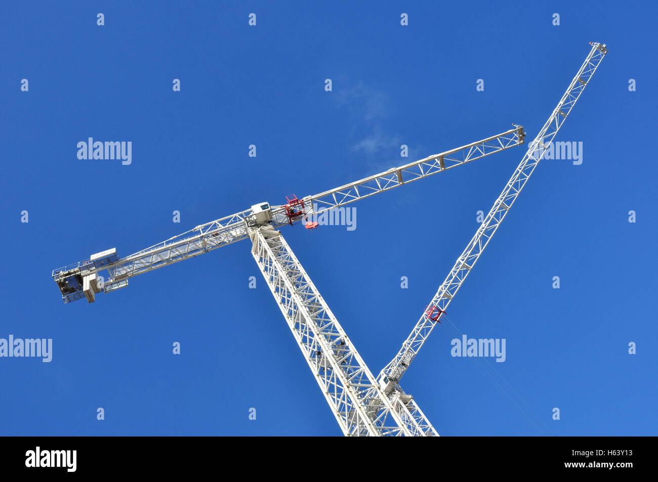 Tower Cranes, King's Cross area, London, England, UK - Stock Image