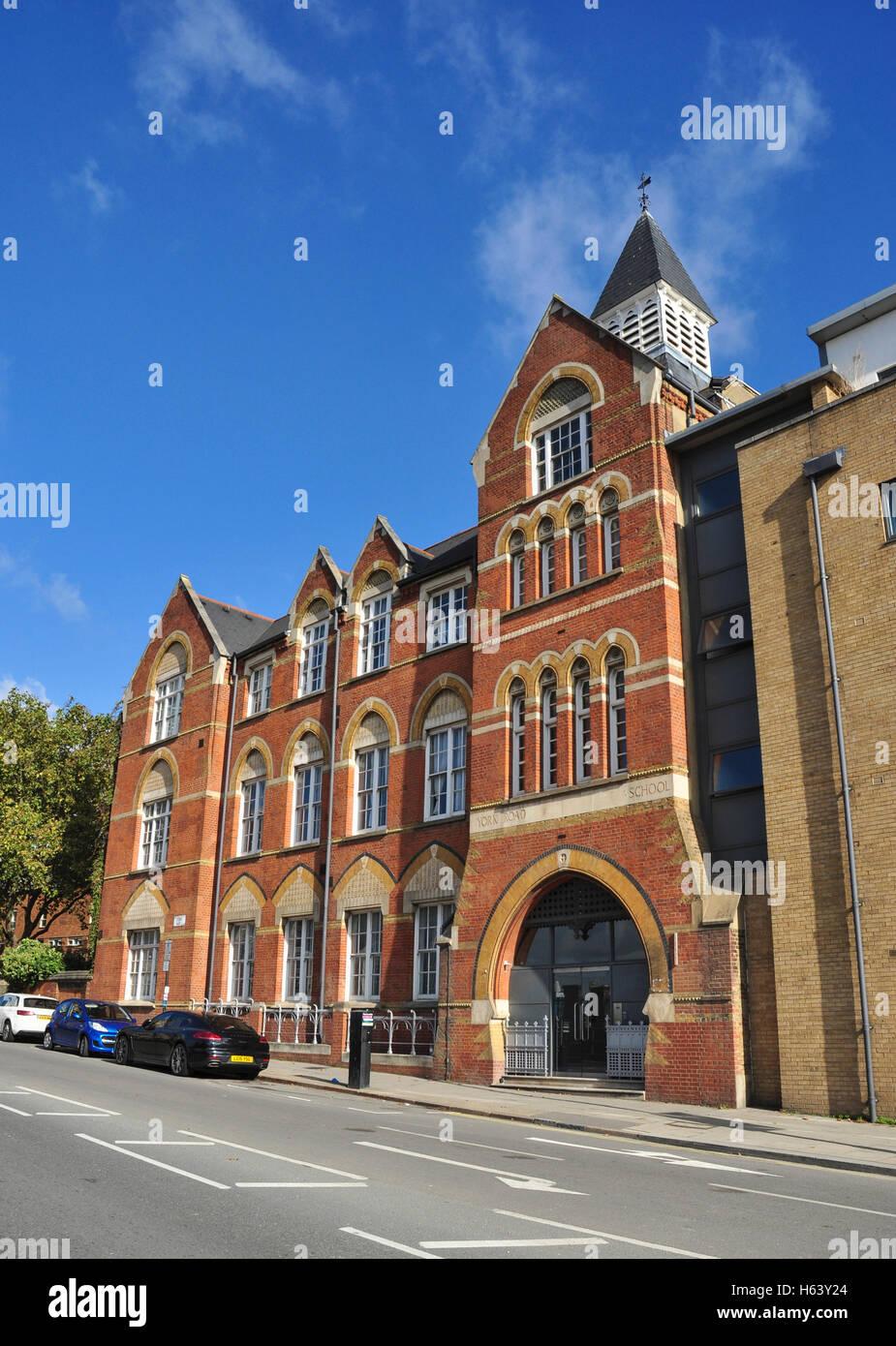 The old school building (formerly York Road School), York Way, King's Cross, London, England, UK - Stock Image