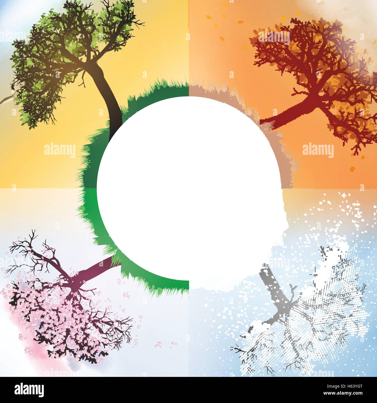 Four Seasons Spring, Summer, Autumn, Winter Banners with Abstract Trees - Vector Illustration - Stock Image