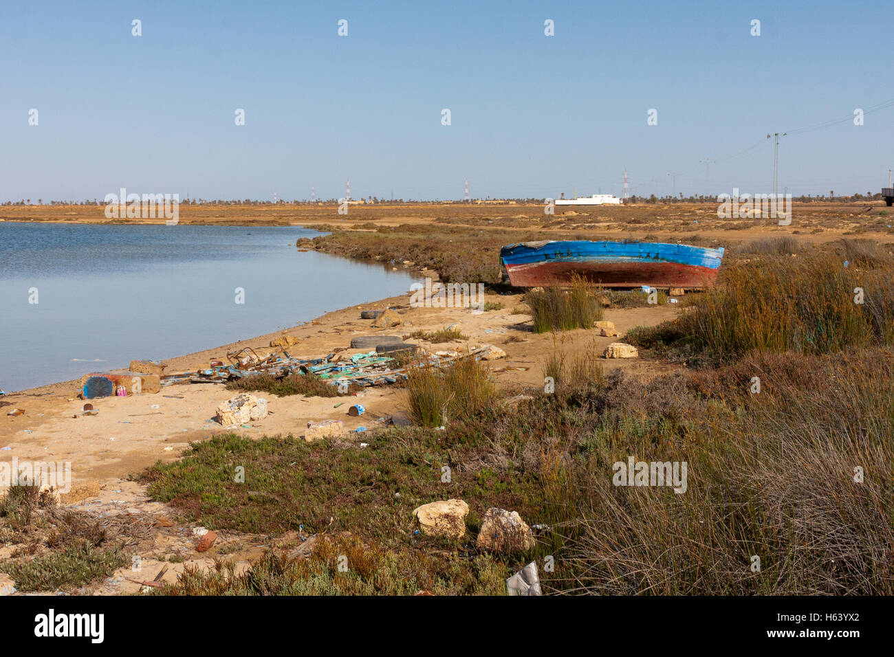 By the side  of the C117 Chaussee Romaine Djerba-Zarzis crossing seen from North end, Djerba, Tunisia - Stock Image
