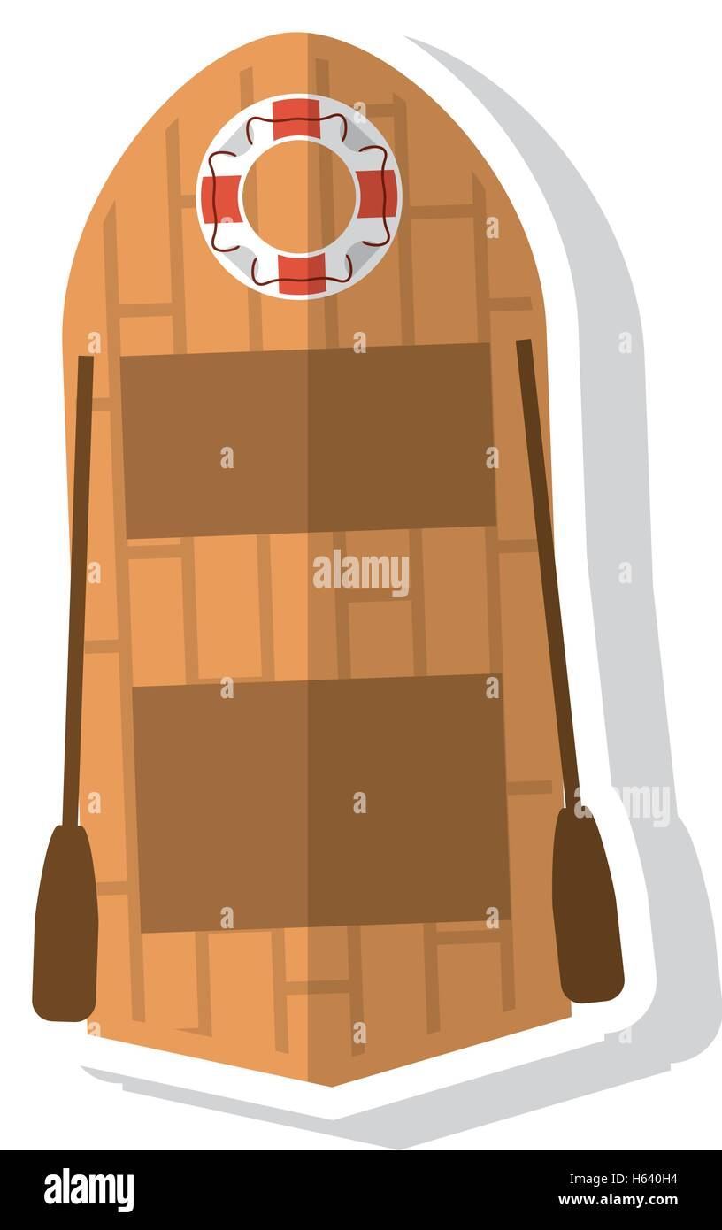 Isolated lifeboat ship design - Stock Vector