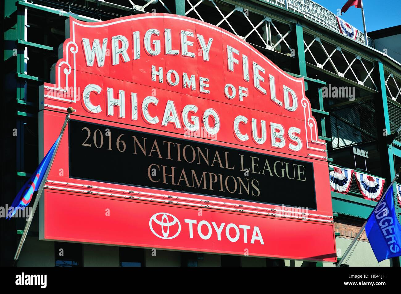 An excruciating long wait was finally over as the Chicago Cubs won the National League pennant for the first time - Stock Image