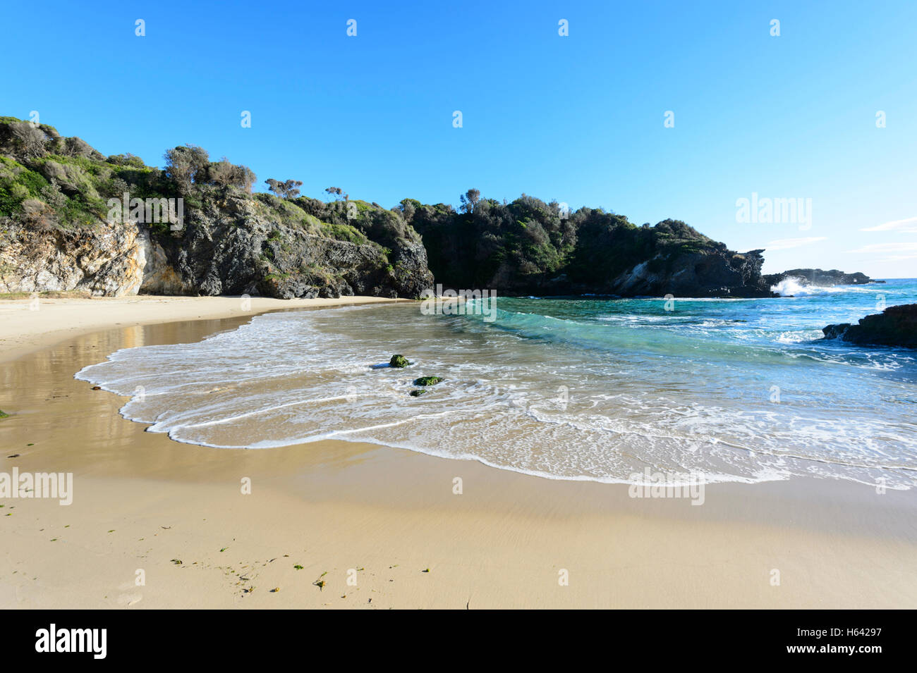 North end of Surf Beach, Narooma, New South Wales, NSW, Australia - Stock Image