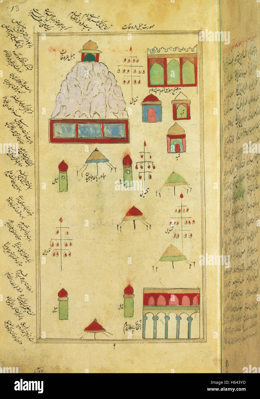Kaaba. Mecca. Holy City of Islam. Miniature of a Persian manuscript, 17th century. National Library. Paris. France. - Stock Image