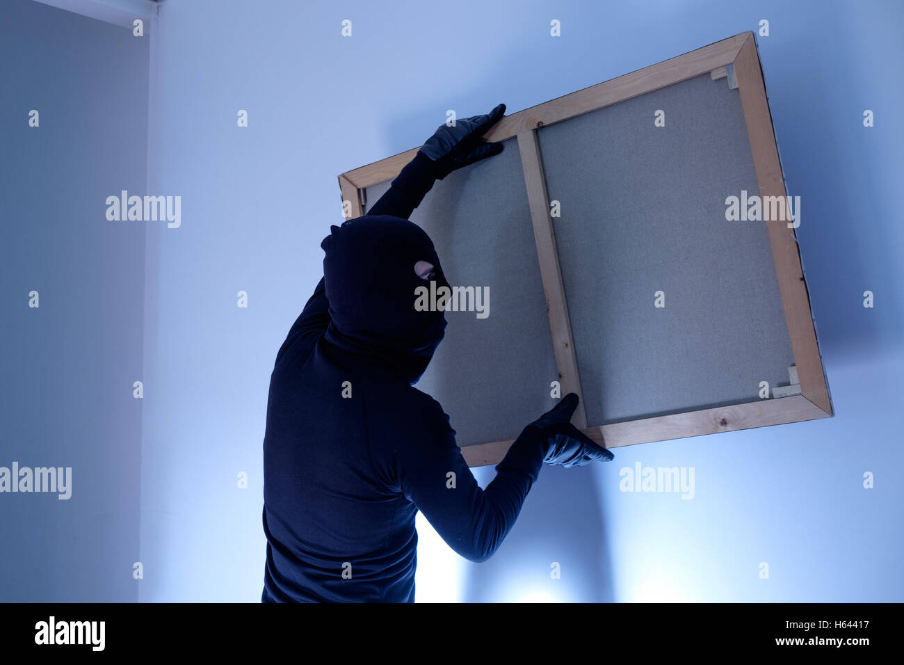 Thief inside home  stealing a painting from the wall - Stock Image