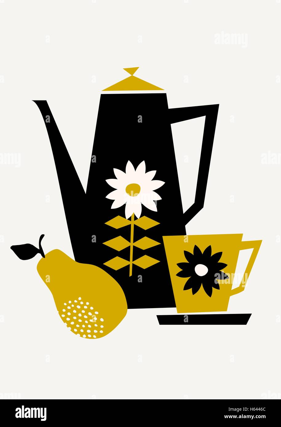 Mid-century style illustration of a coffee pot, a cup and a pear in ...
