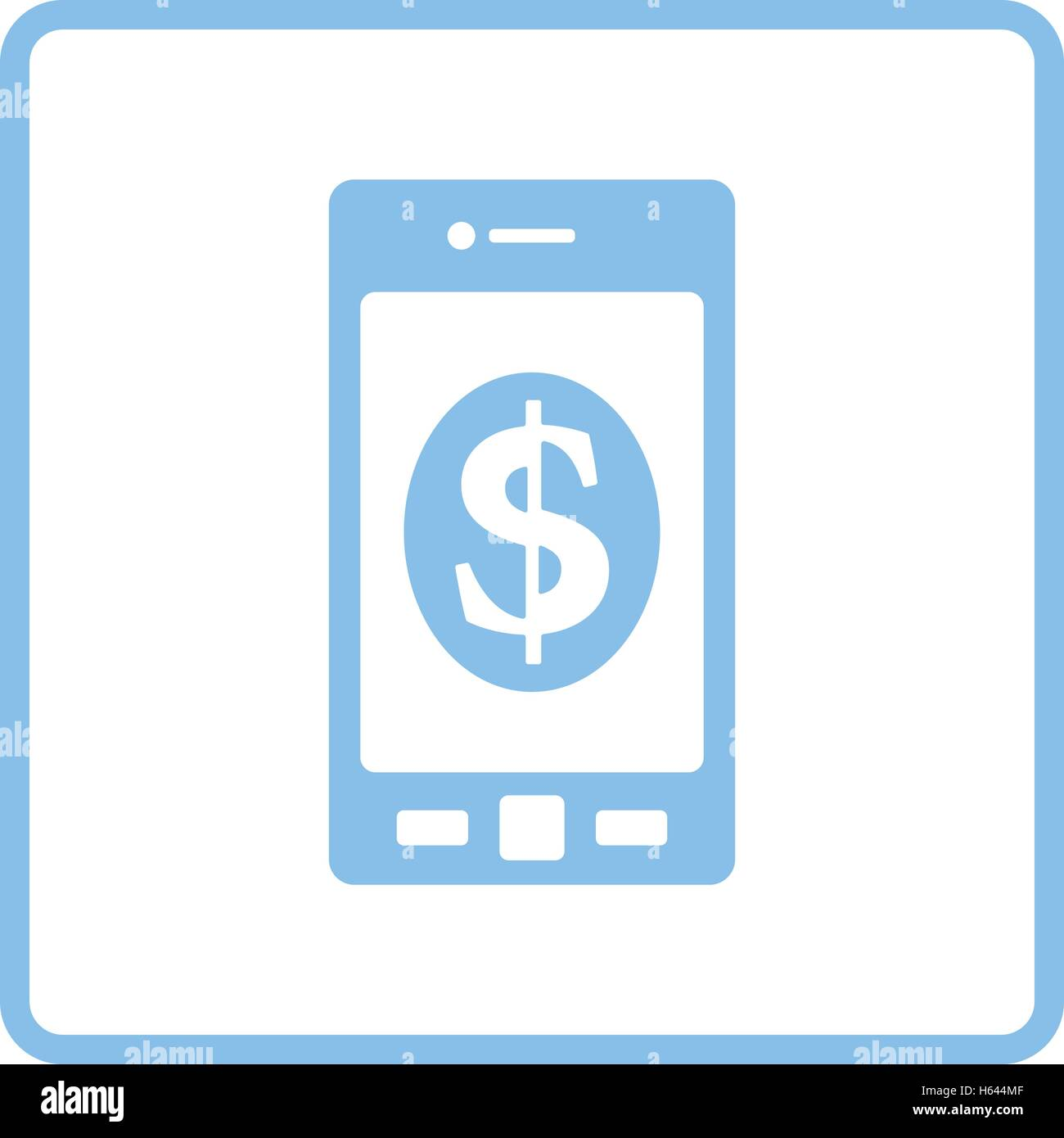 Smartphone with dollar sign icon. Blue frame design. Vector illustration. - Stock Vector