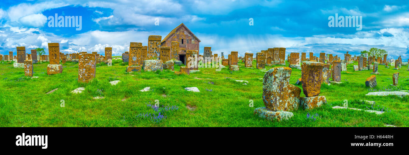 Panorama of Noratus Cemetery, one of the most amazing religious landmarks of Gegharkunik Province, Armenia - Stock Image