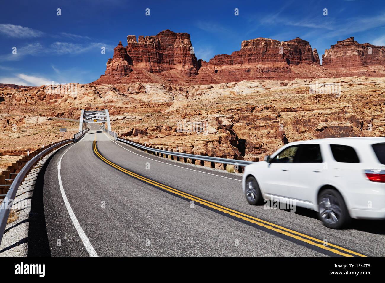 Bridge above Colorado River, 95 highway, Utah, USA - Stock Image