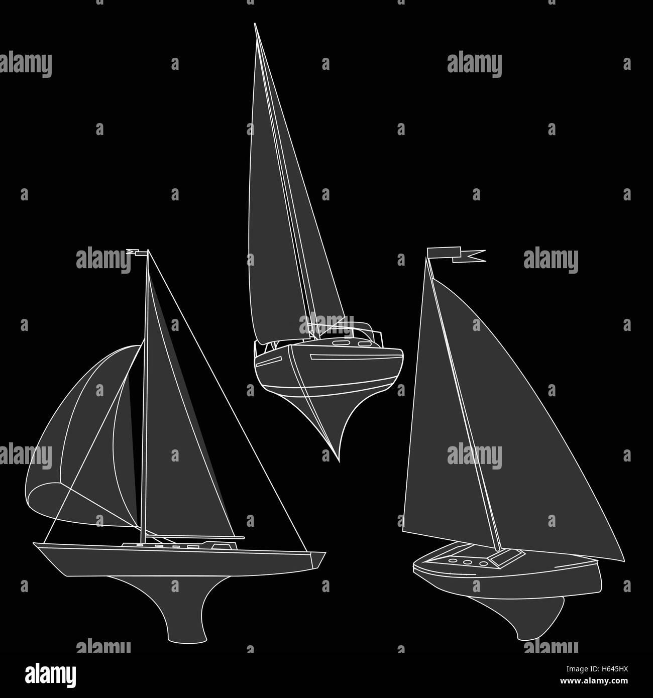 yacht vector illustration artvork Stock Vector