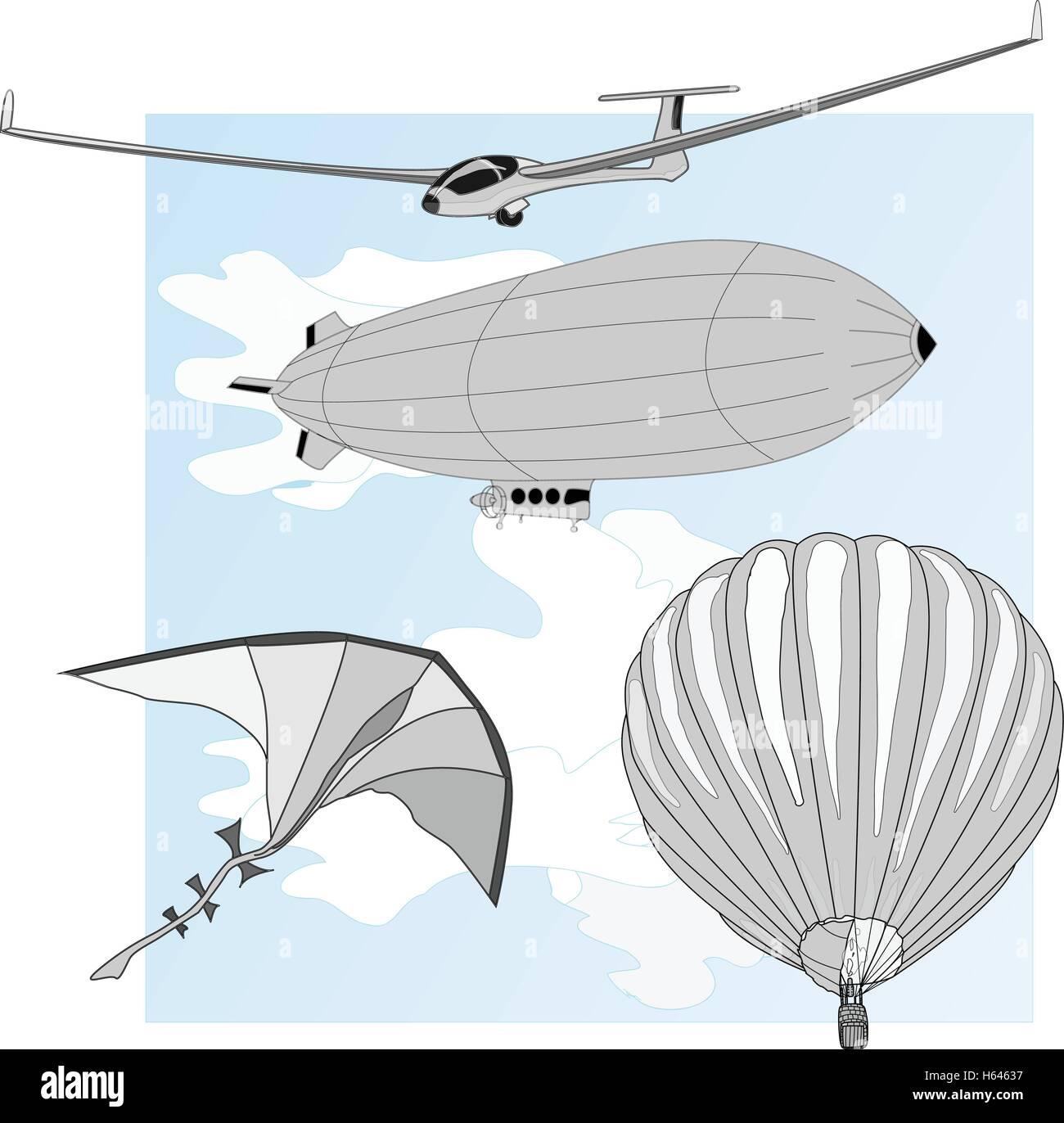 air transportation items vector set - Stock Image