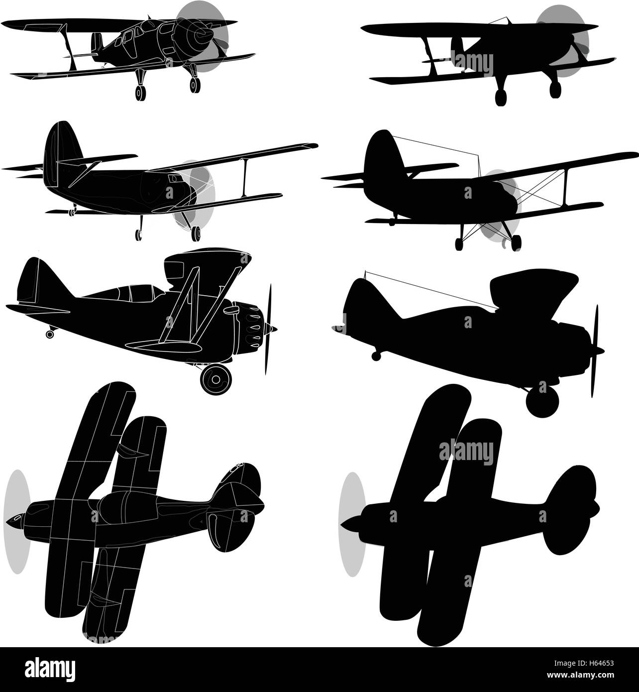 Bi plane collection isolated on sky. Vector  illustration. - Stock Vector