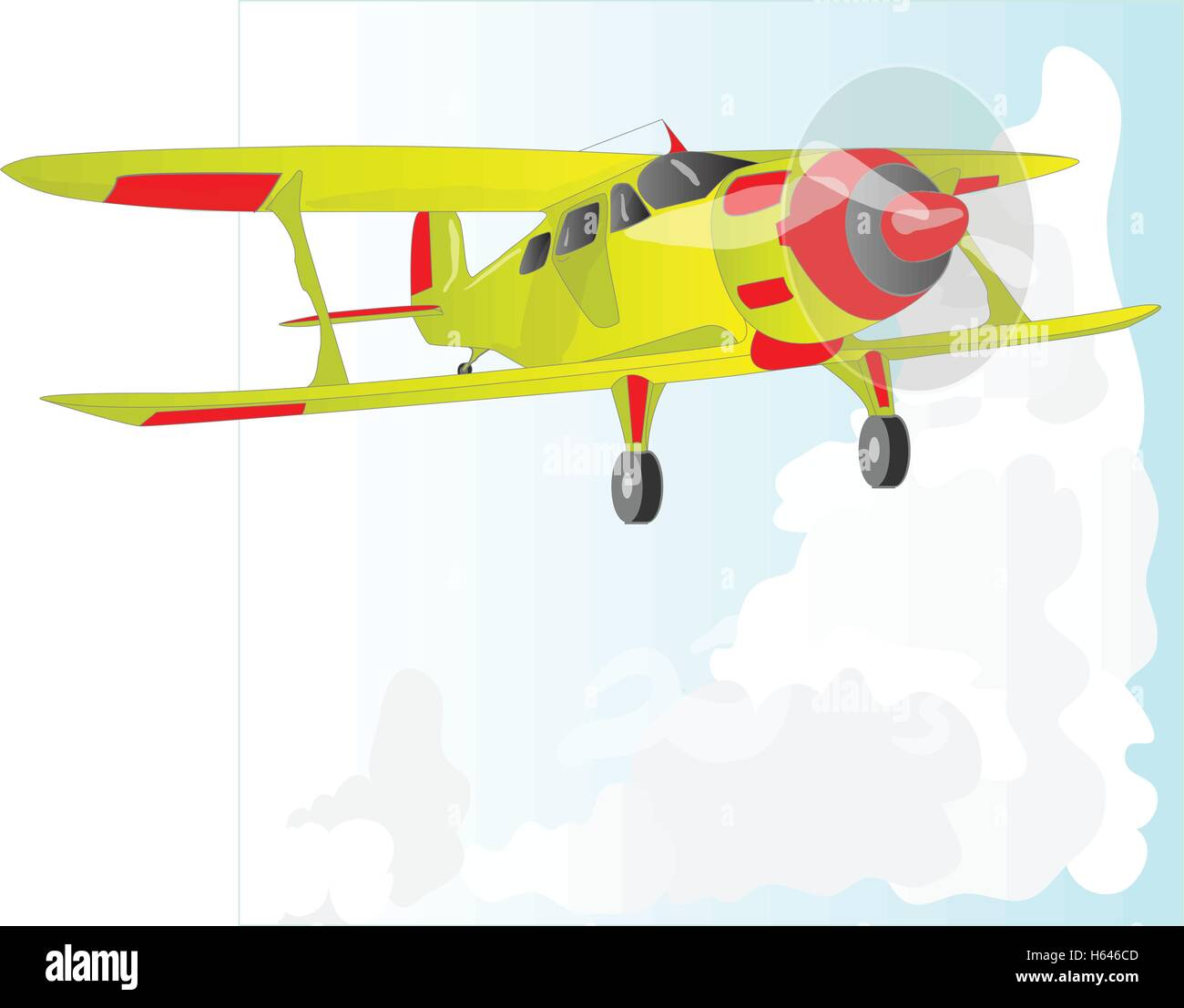 A bi plane isolated on sky. Vector  illustration. - Stock Vector