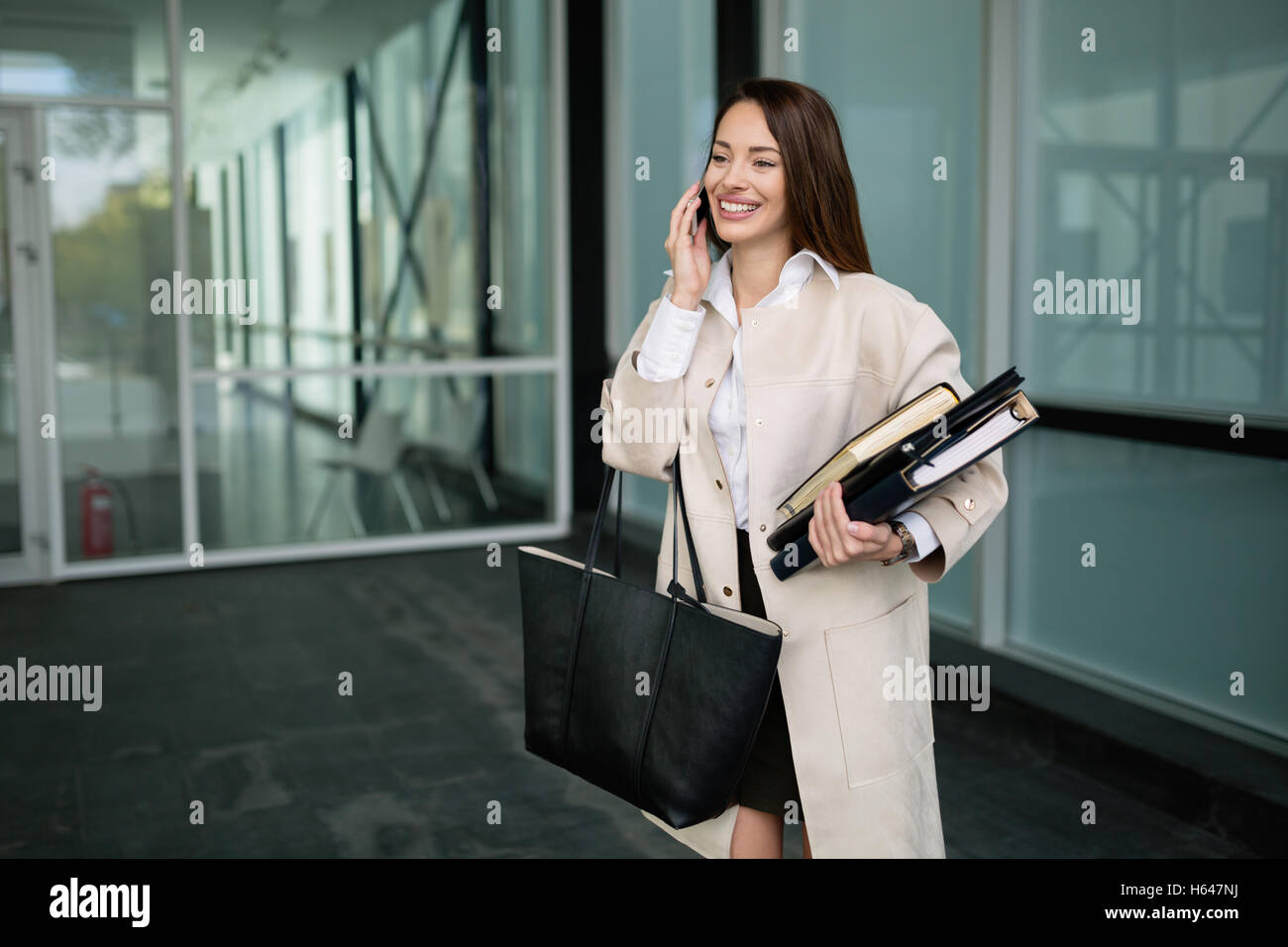Busy ceo business woman going to work - Stock Image