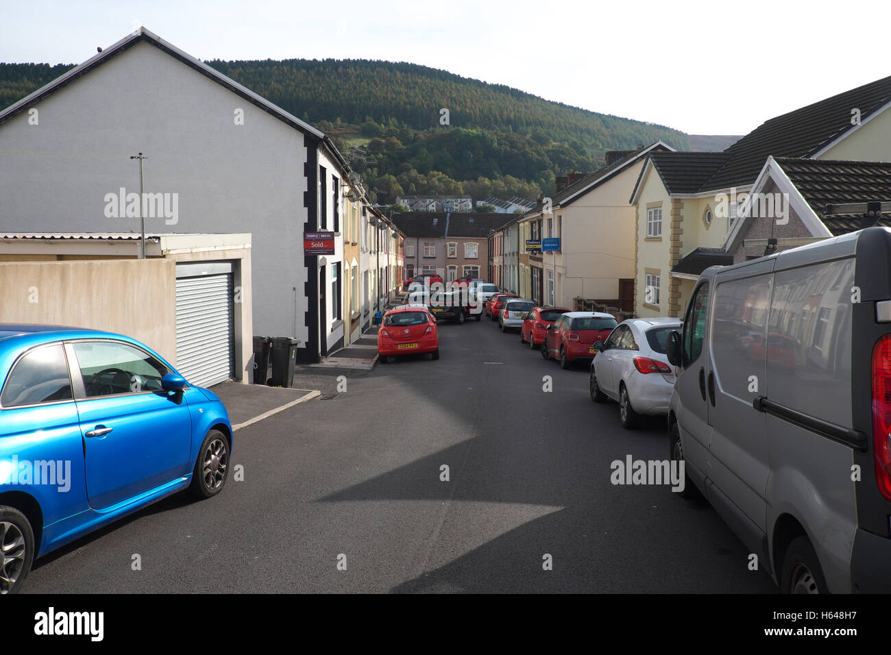 Aberfan, Wales - typical back to back terraced housing in Aberfan a small former mining community in South Wales - Stock Image