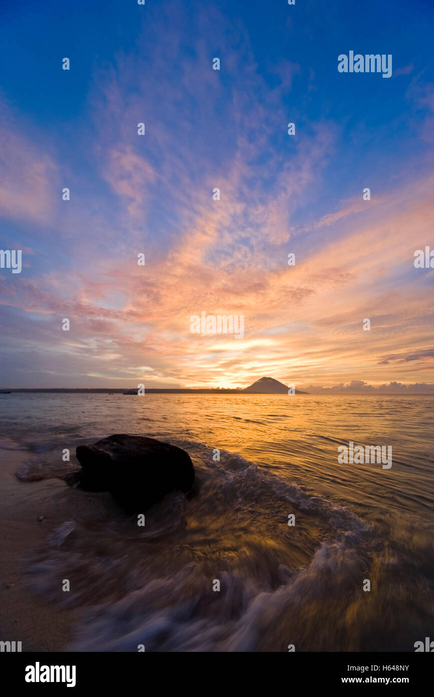 Sunset on the beach, Siladen, Sulawesi, Indonesia, Southeast Asia - Stock Image