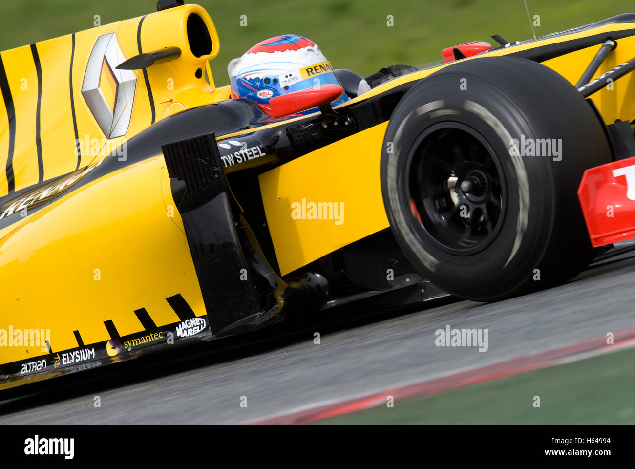 Motorsports, Vitaly Petrov, RUS, in the Renault R30 race car, Formula 1 testing at the Circuit de Catalunya race - Stock Image