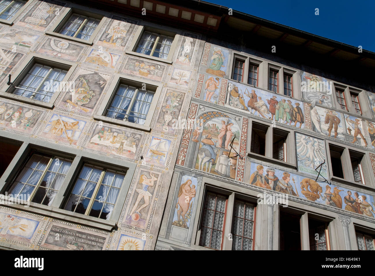 Houses on the town hall square, sign for Hotel Sonne, wine bar, murals, bay windows, Stein am Rhein, Lake Constance Stock Photo