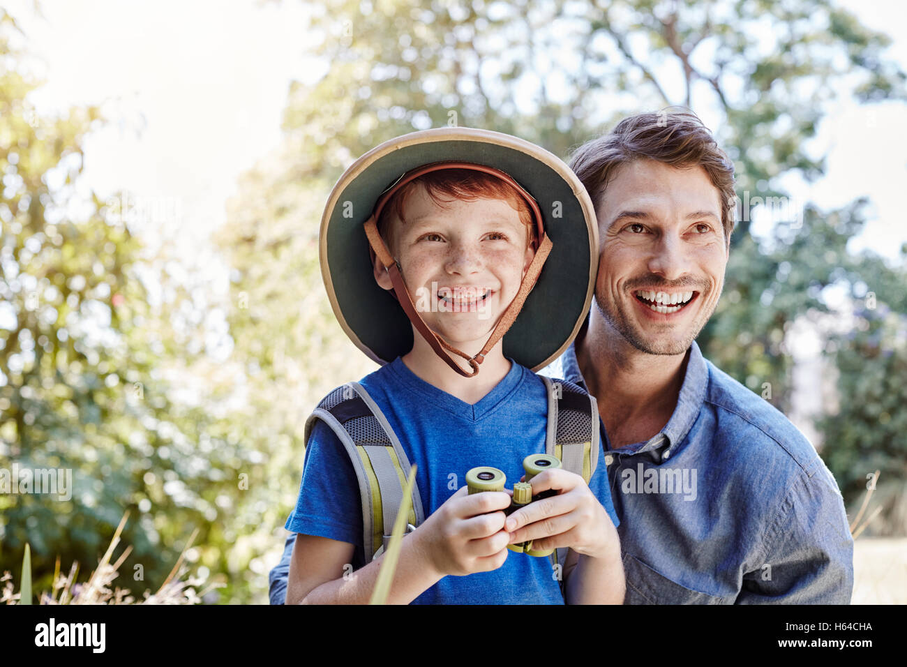 Father and son on expedition - Stock Image