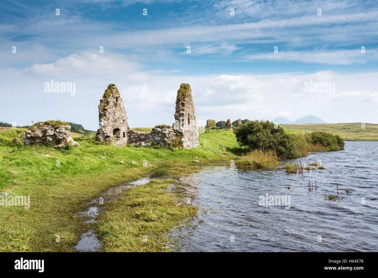 United Kingdom, Scotland, Inner Hebrides, Isle of Islay, Finlaggan Castle on island of Eilean Mor Stock Photo
