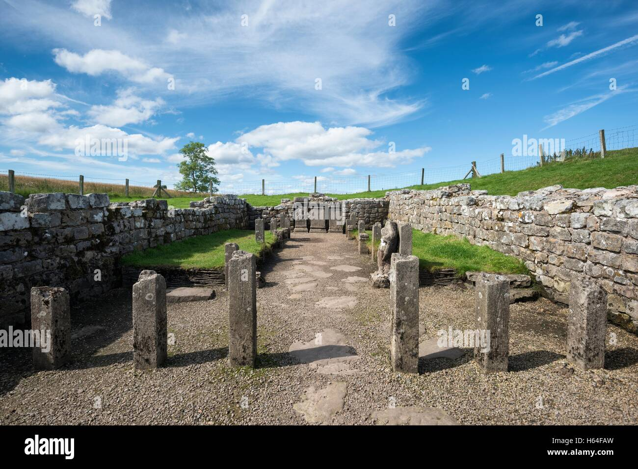 UK, Northumberland, Carrawburgh, Mithraeum - Stock Image