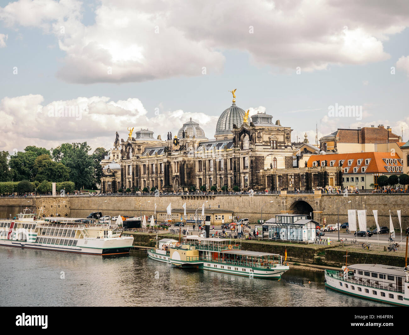 Germany, Saxony, Dresden, academy for visual arts in front of Elbe river - Stock Image