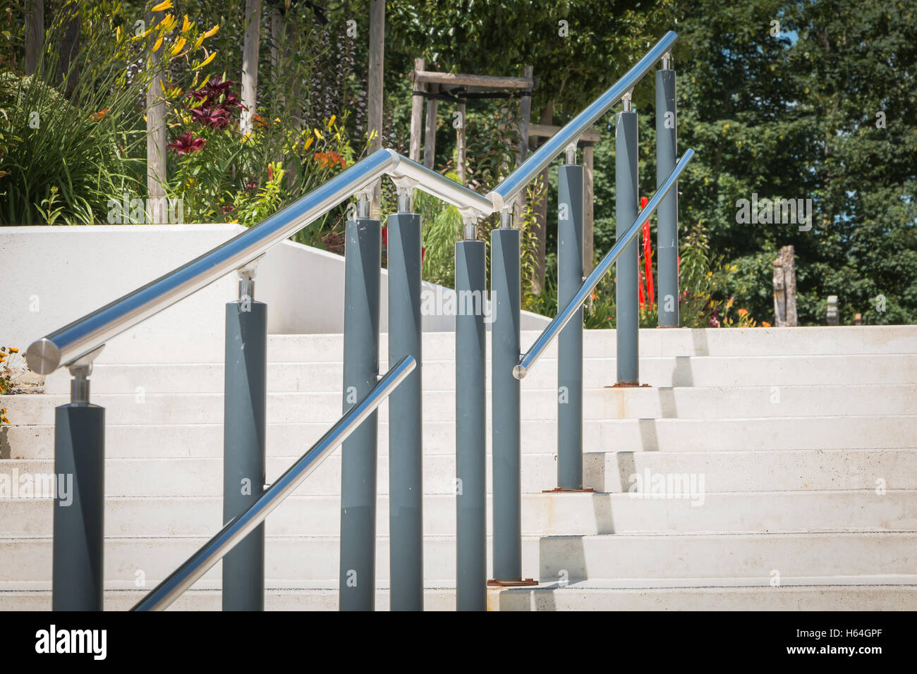 Modern Outside Stairs With Metal Ramp