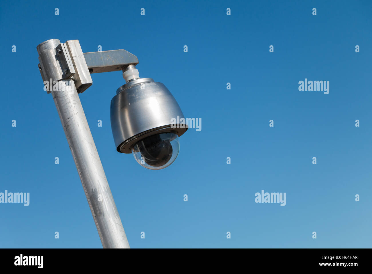 rotate safety camera on blue sky - Stock Image