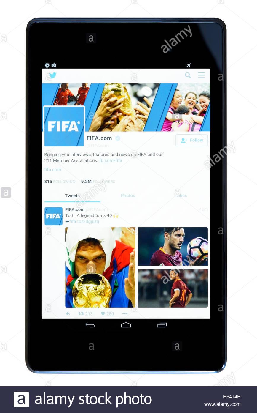FIFA website shown on a tablet computer, Dorset, England, UK Stock Photo