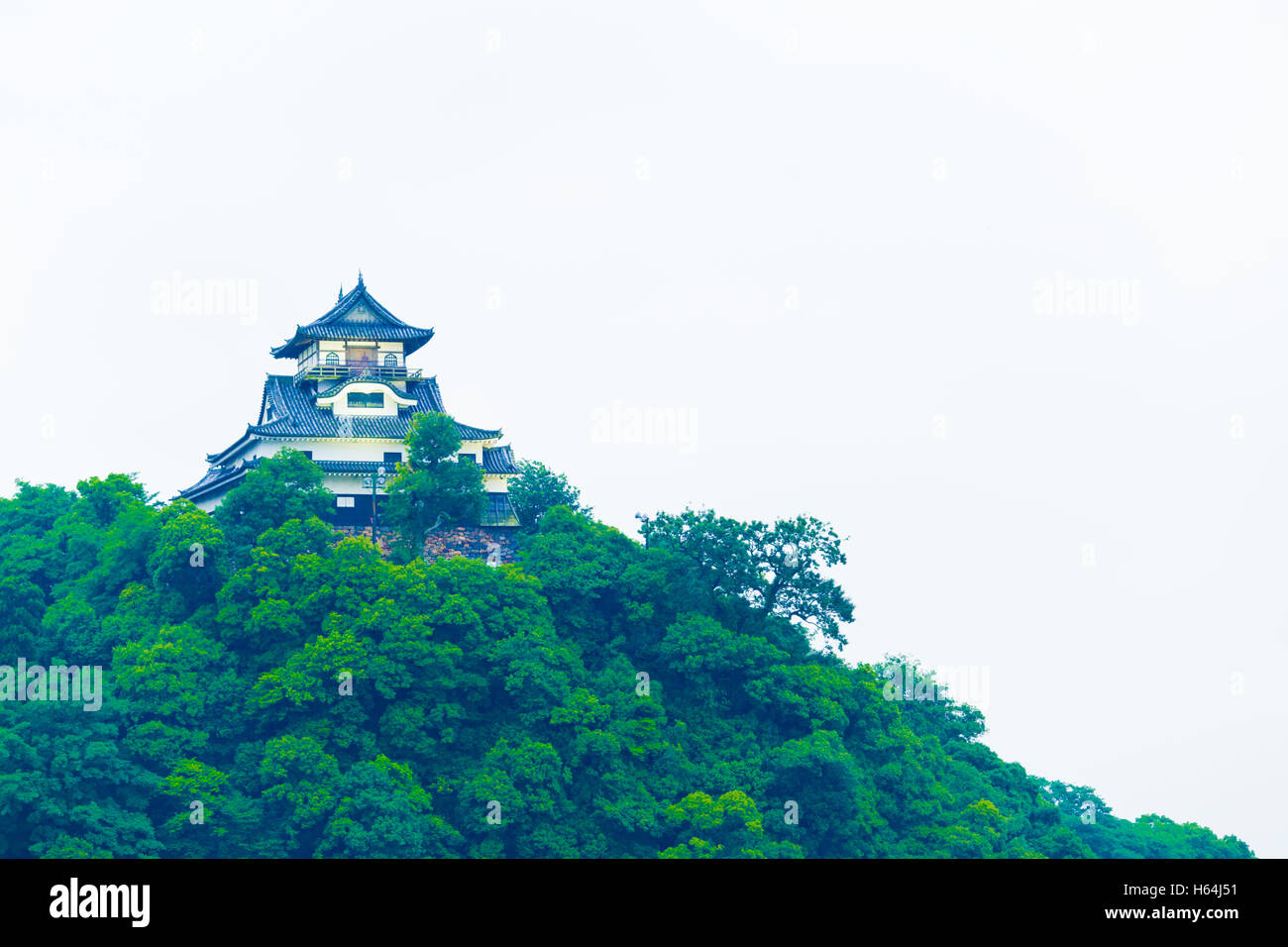 Telephoto closeup facade of Inuyama Castle on overcast day atop hill forest in Gifu Prefecture, Japan. Horizontal - Stock Image