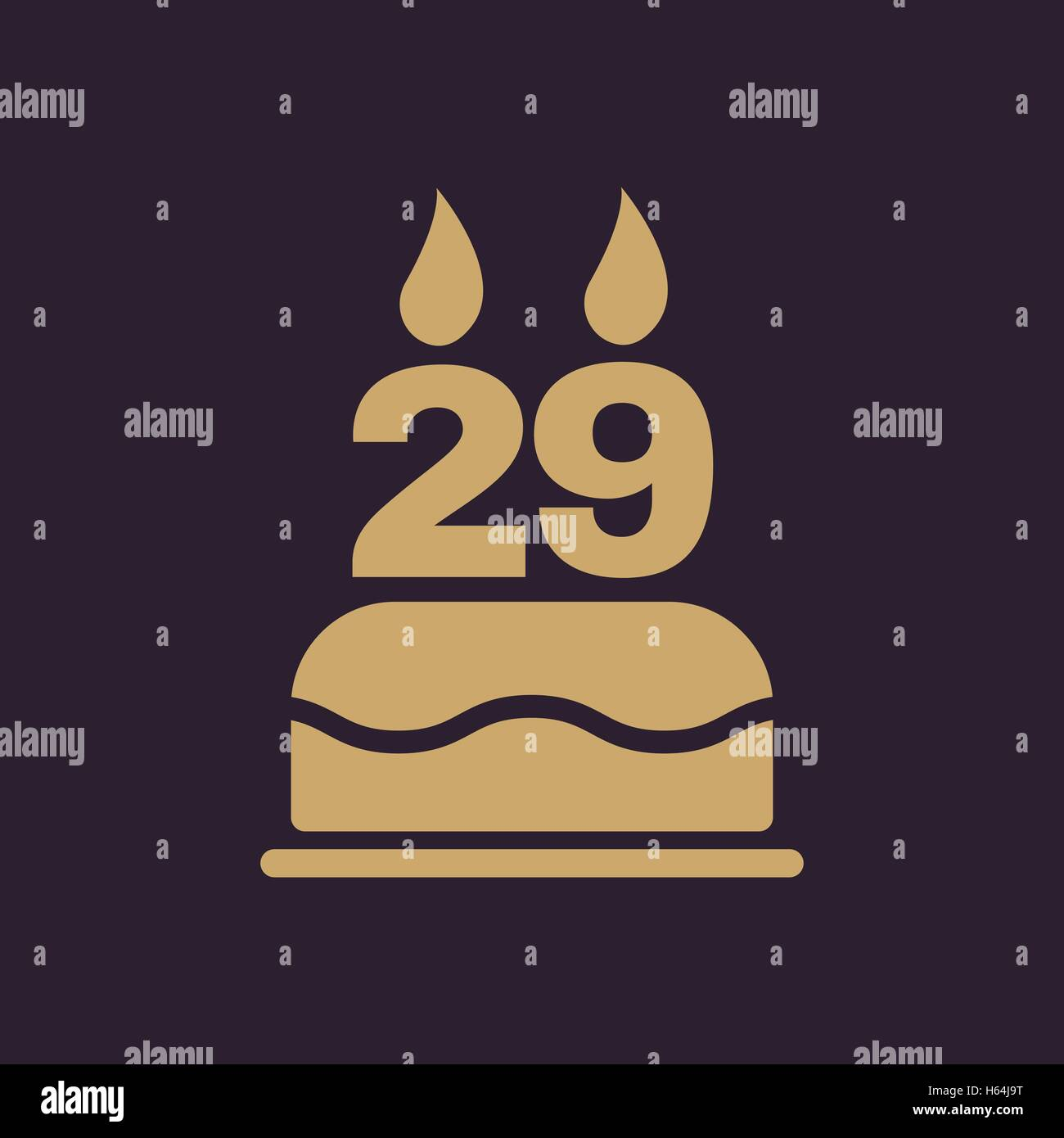 Incredible The Birthday Cake With Candles In The Form Of Number 29 Icon Stock Personalised Birthday Cards Arneslily Jamesorg