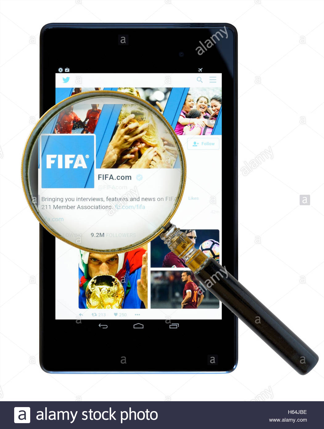 FIFA website shown on a tablet computer, Dorset, England, UK Stock Photo