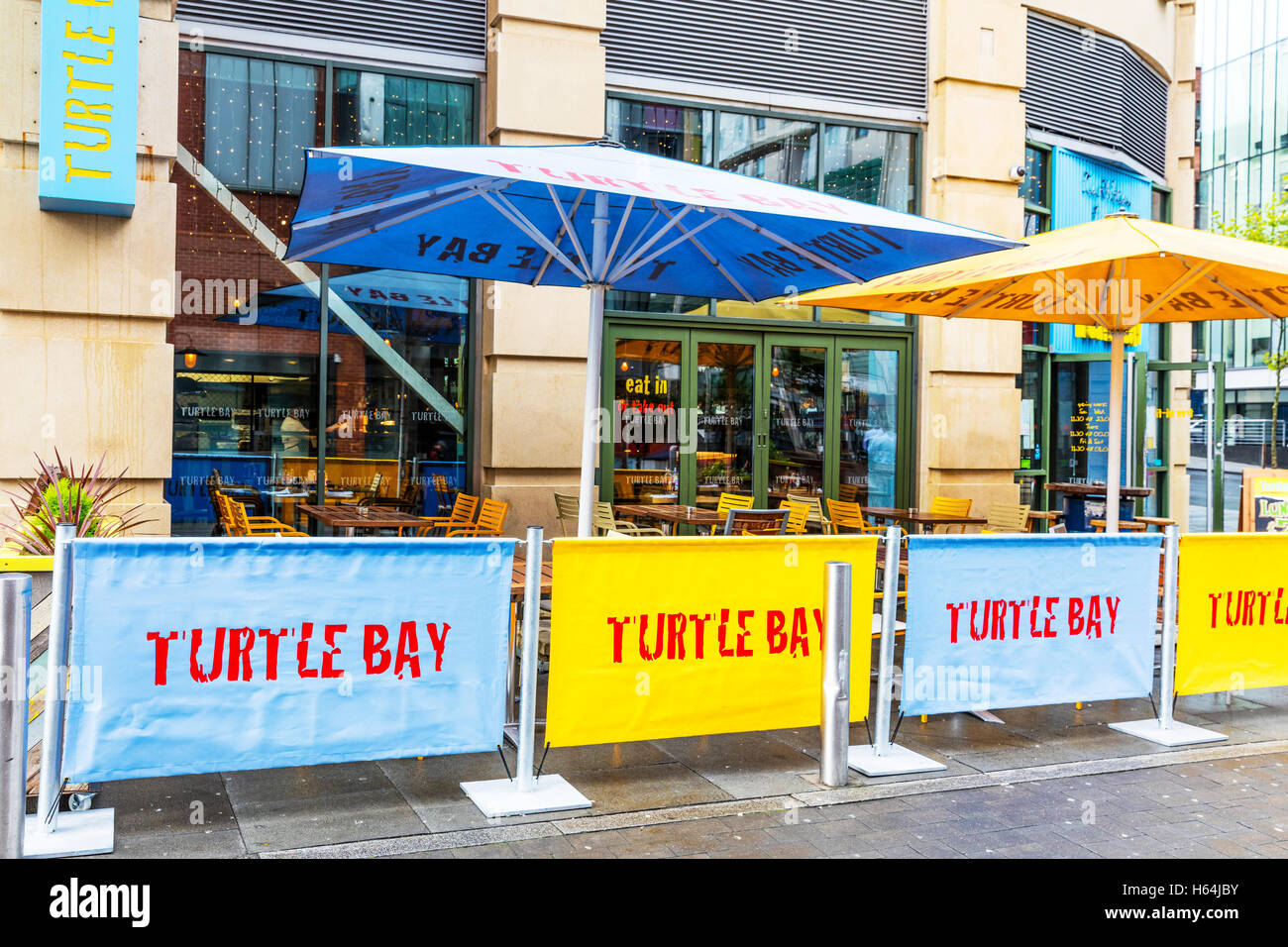 Turtle bay restaurant Caribbean diner chain Nottingham City UK GB England sign signs building restaurants exterior - Stock Image