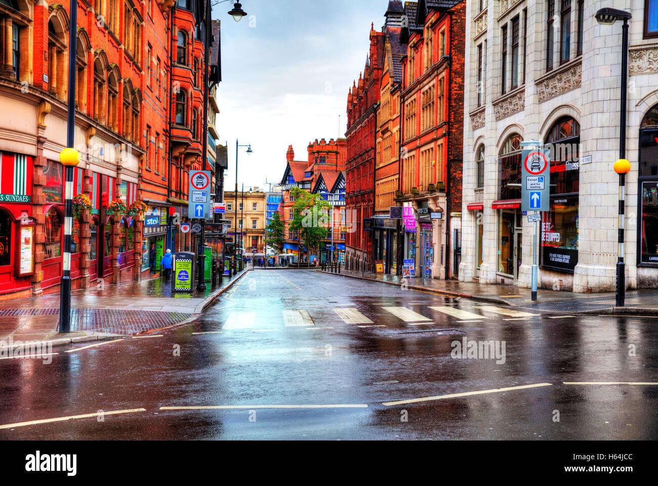 Nottinham City centre buildings shops road roads street streets pelican crossing King Street Nottingham cities UK - Stock Image