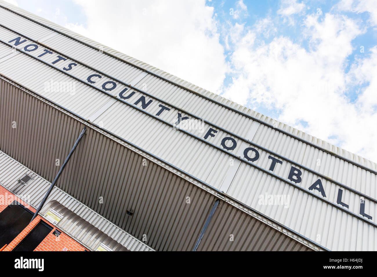 Notts county football club stadium Nottingham county football sign soccer stadium stadiums clubs UK GB England - Stock Image