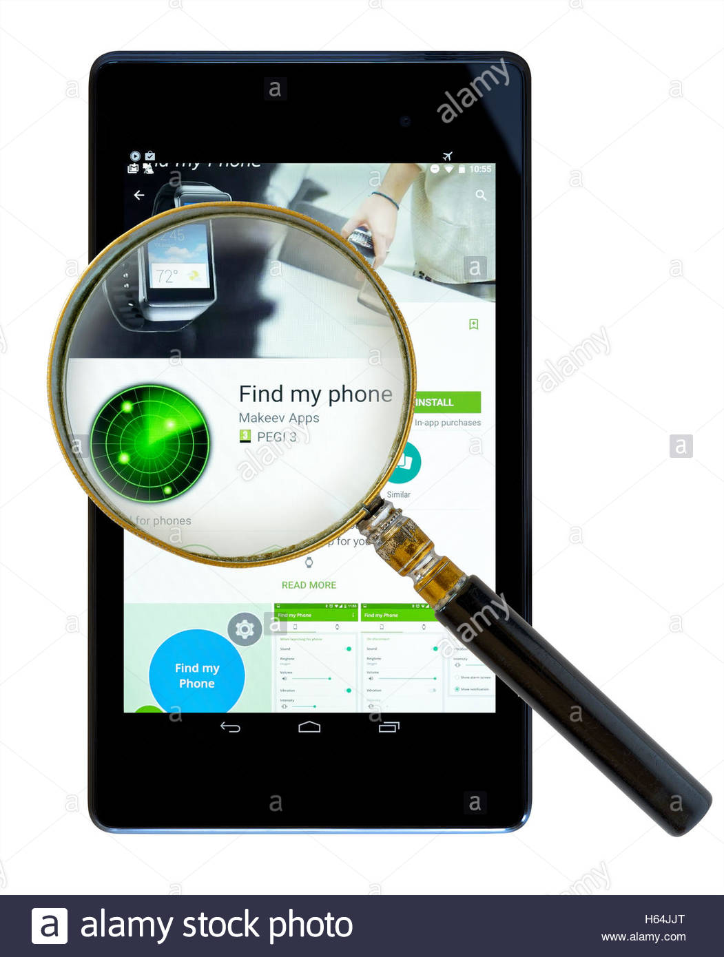 Find My Phone app shown on a tablet computer, Dorset, England, UK - Stock Image