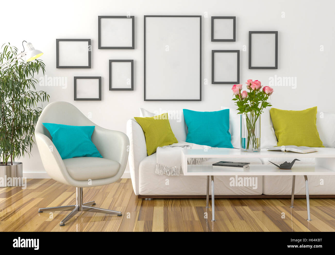 An interior with blank picture frame on the wall Stock Photo ...