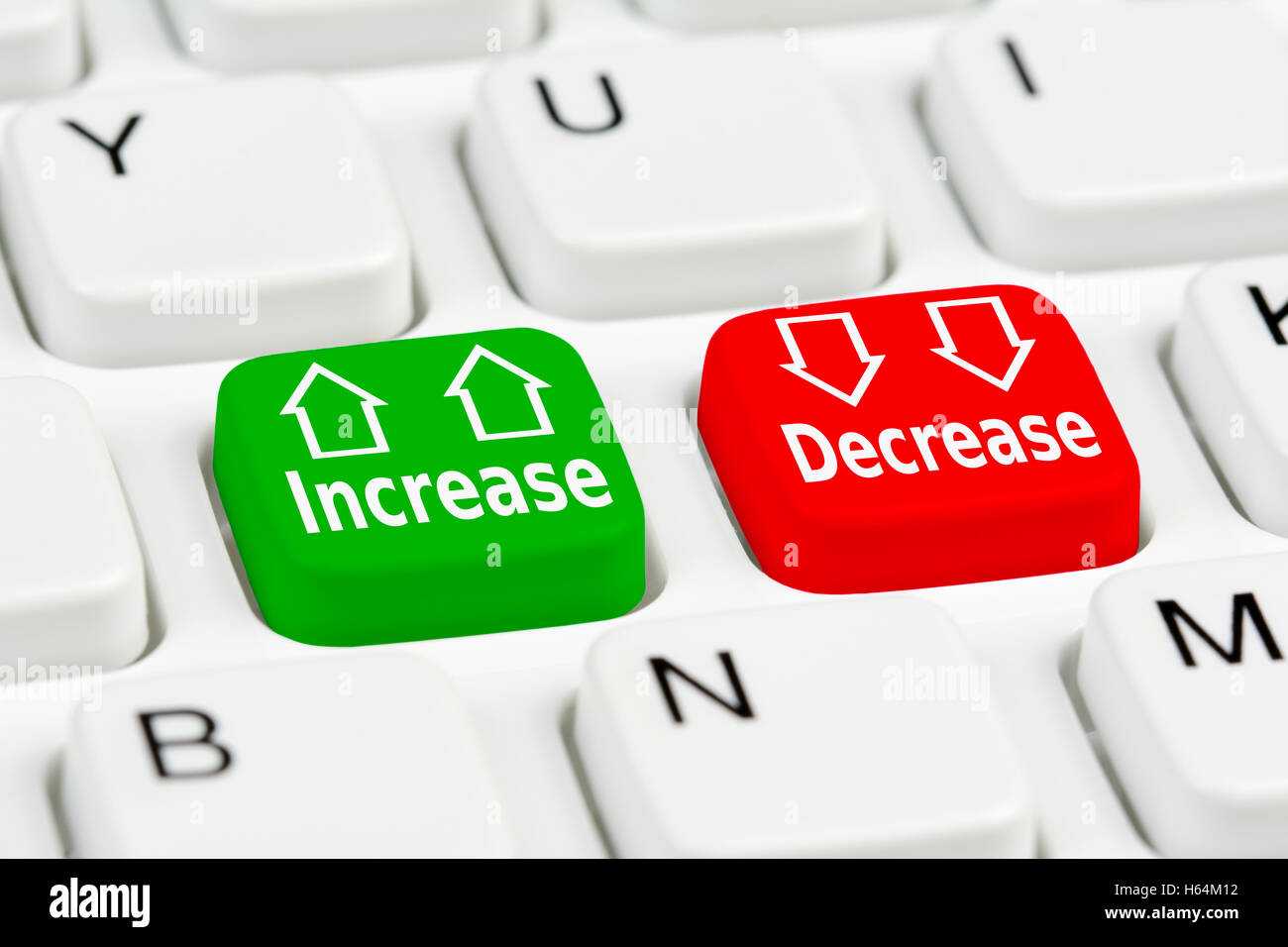 Increase or Decrease option buttons. Interest rates. - Stock Image
