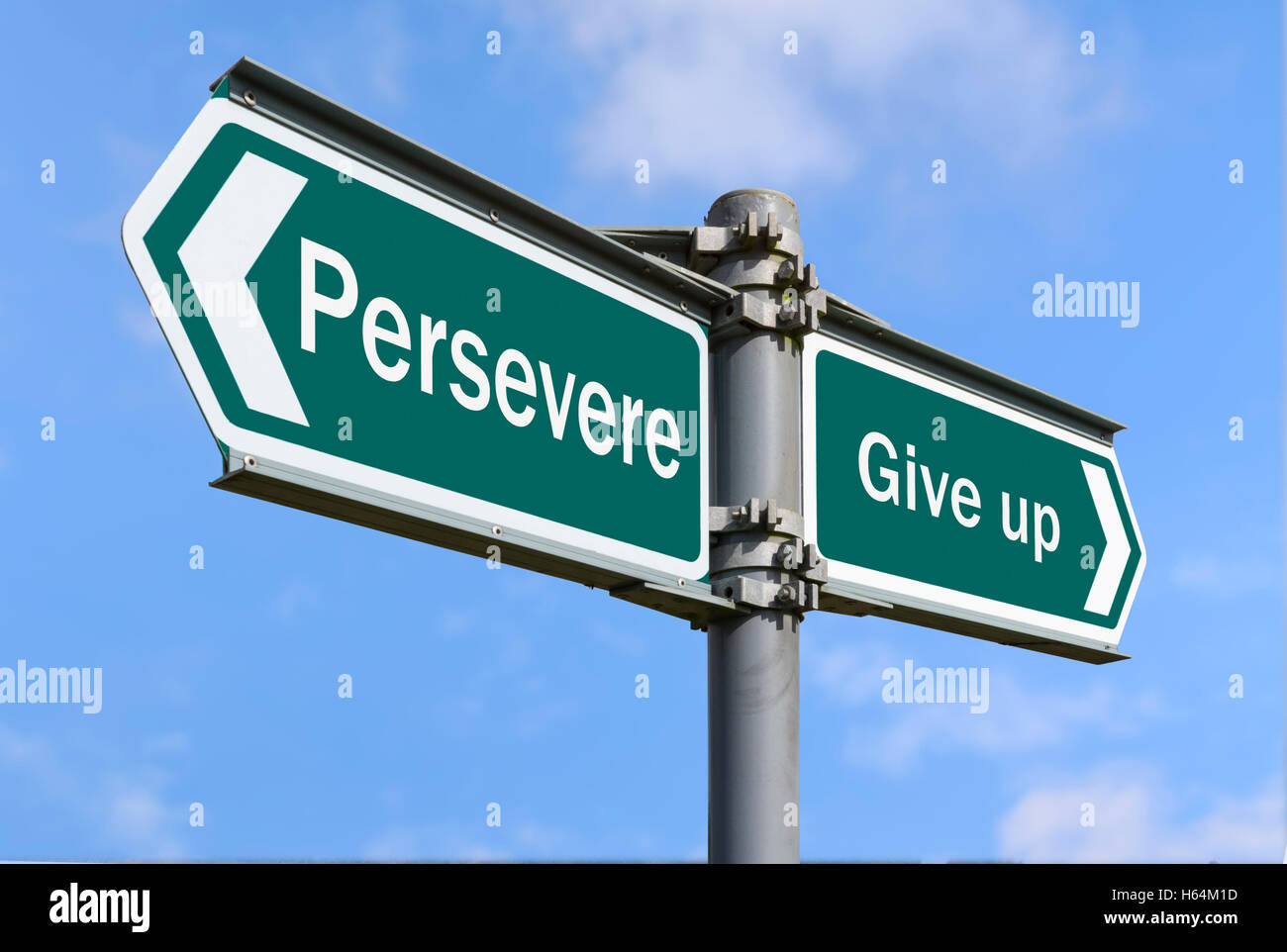 Persevere or Give Up direction sign. - Stock Image