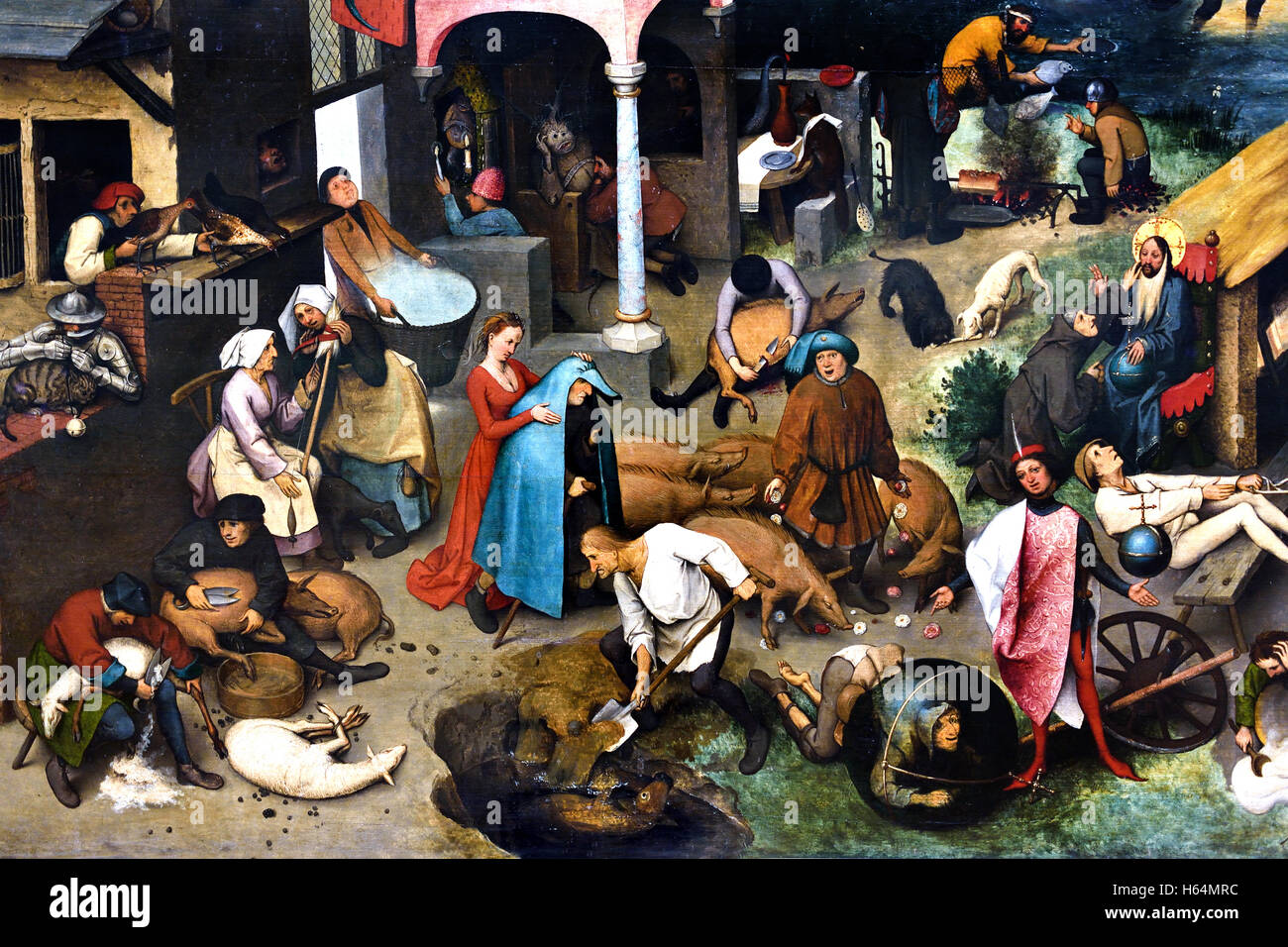 The Dutch proverbs 1559 Pieter Brueghel ( Bruegel ) the Elder Breda1525 -  1569 Brussels Dutch Flemish Belgian Belgium Netherlands Medieval Middle Ages