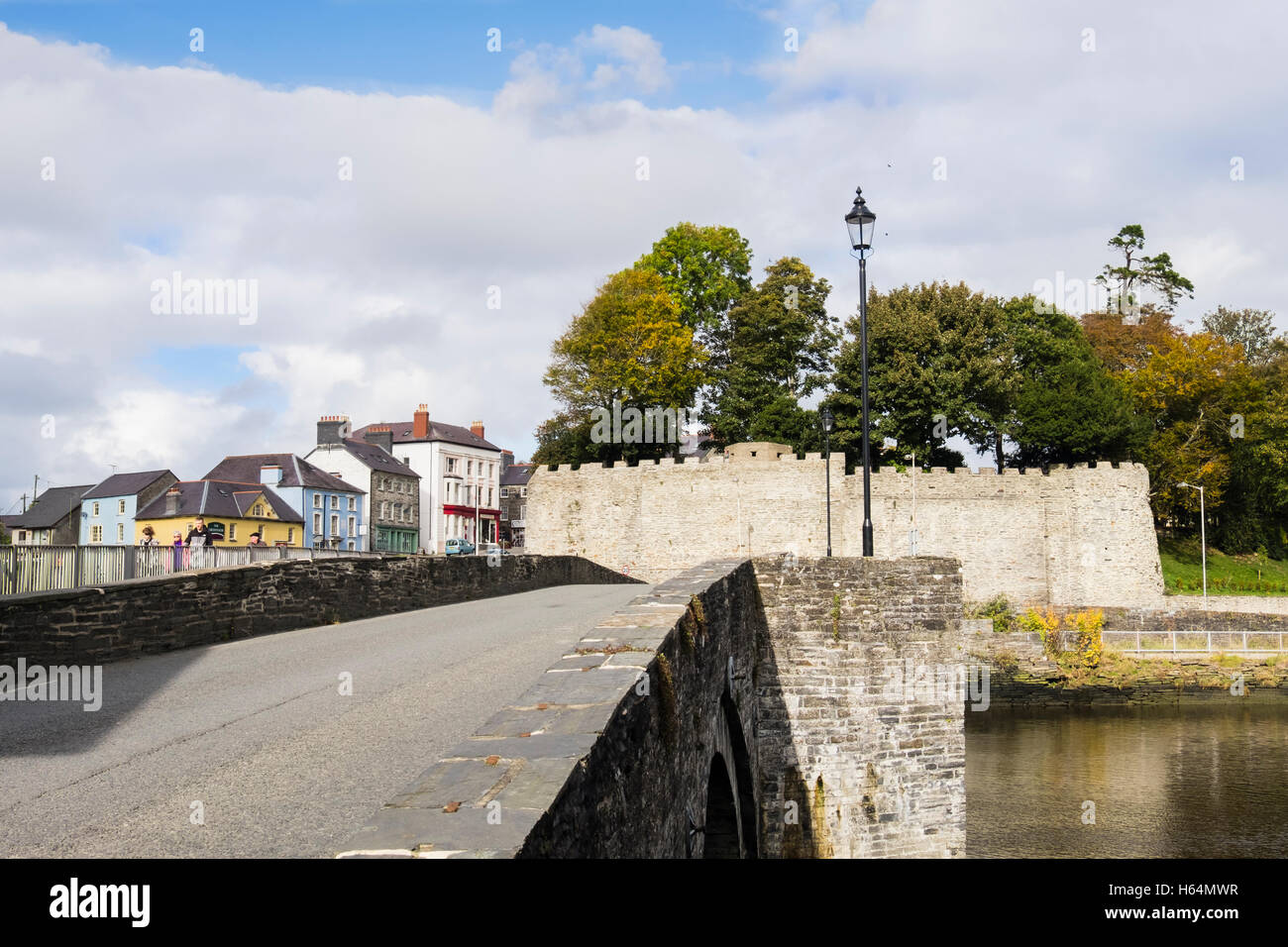 Road Bridge Across Afon Teifi River With Castle Walls Street Cardigan Aberteifi Ceredigion Wales UK Britain