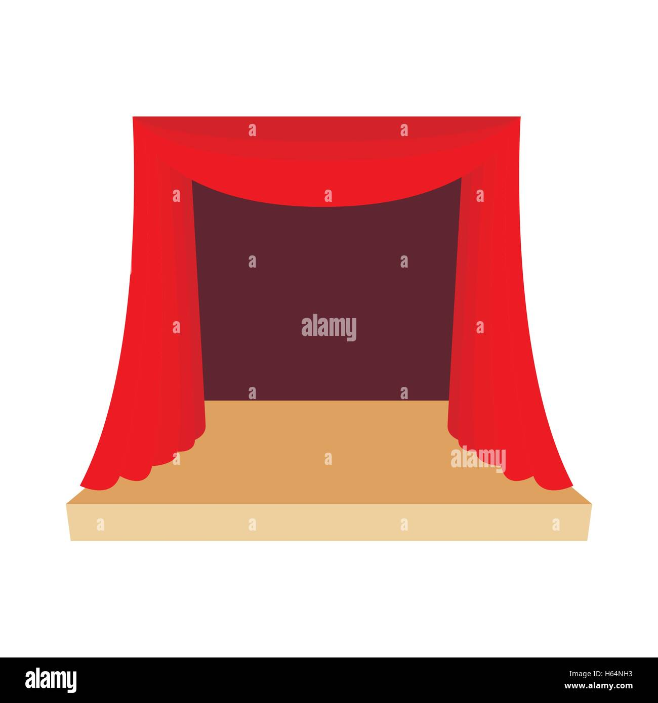 Theater stage with red curtain icon cartoon style - Stock Vector