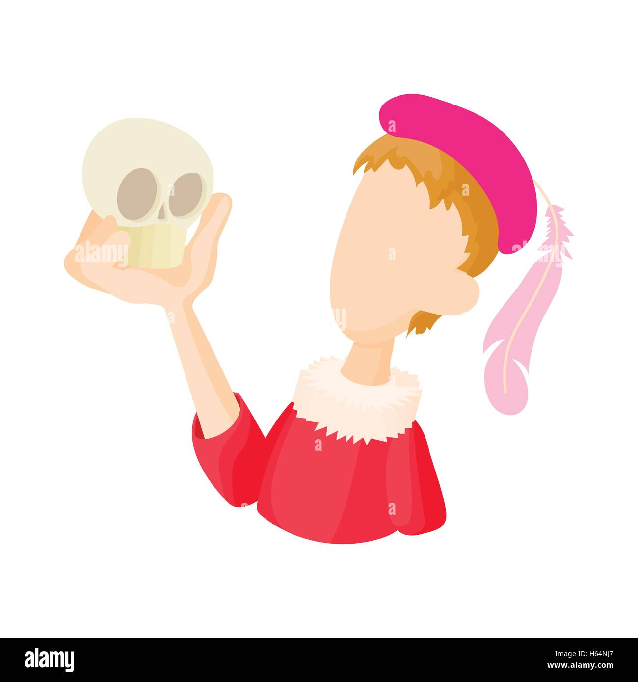 Hamlet actor icon in cartoon style - Stock Image