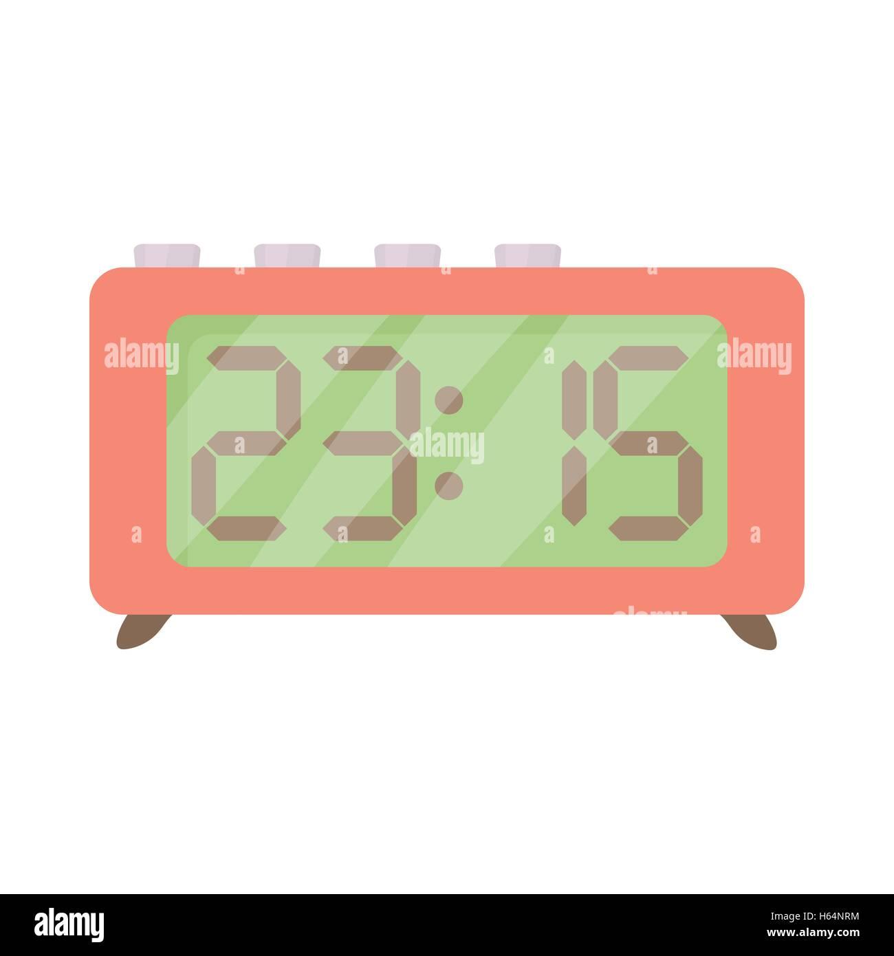 Retro digital table clock icon, cartoon style - Stock Image