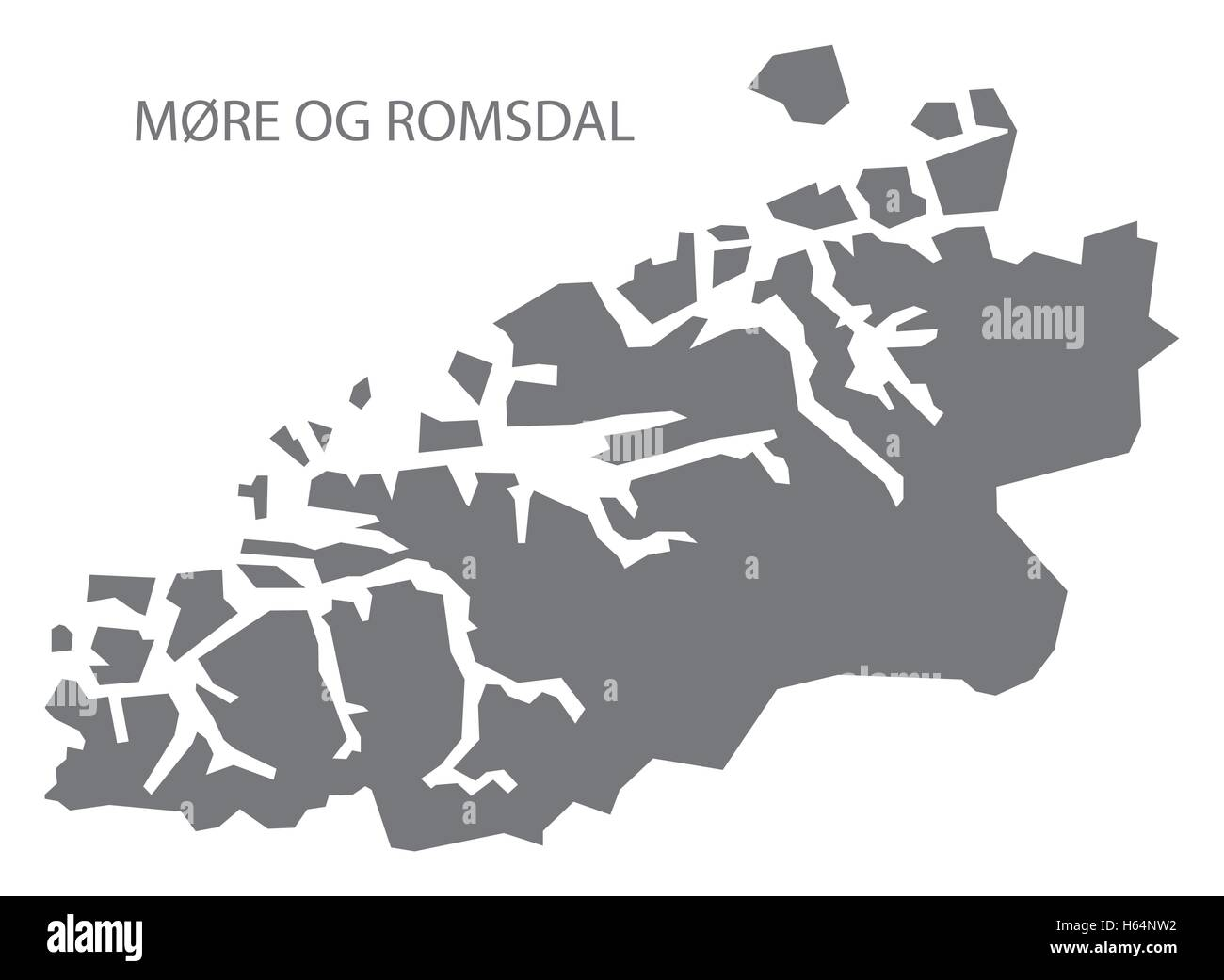 More og Romsdal Norway Map grey - Stock Image