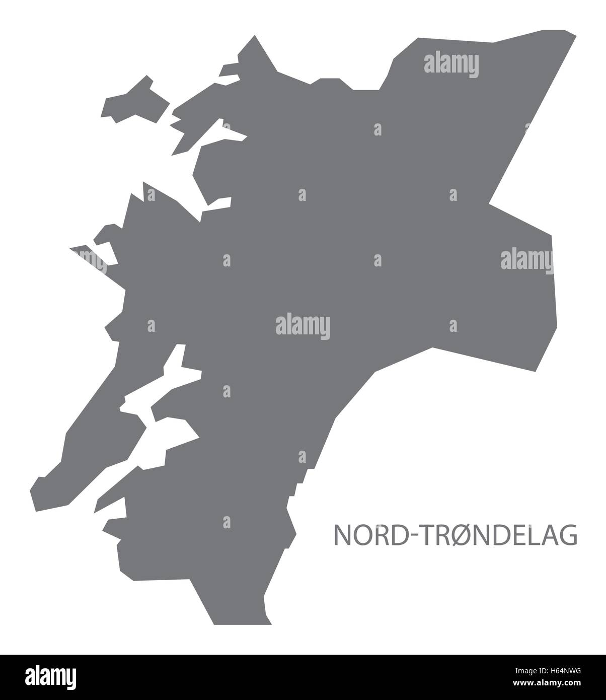 Nord-Trondelag Norway Map grey - Stock Image