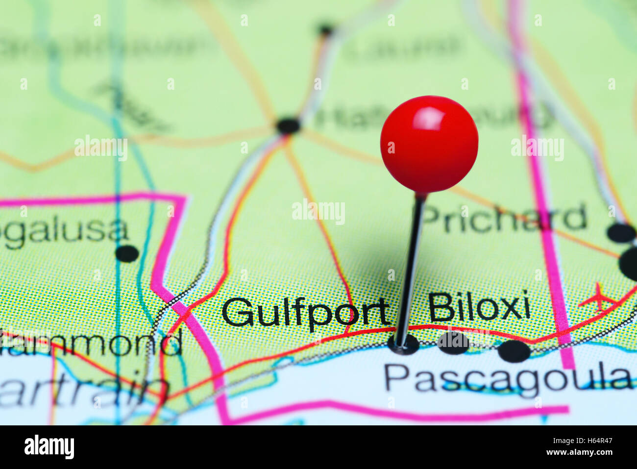 Gulfport pinned on a map of Mississippi, USA Stock Photo: 124266471 ...