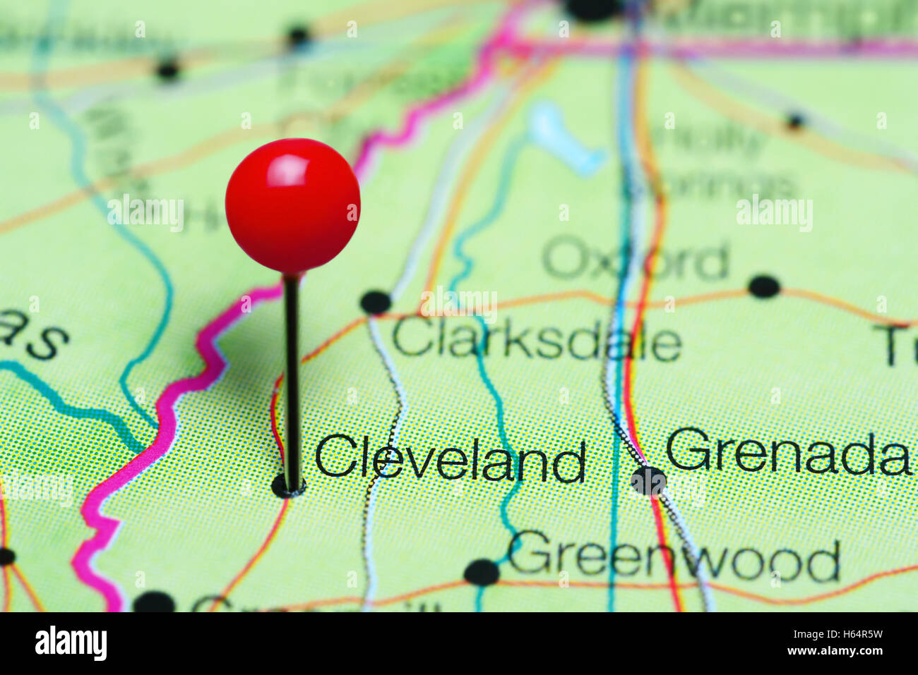 Cleveland pinned on a map of Mississippi, USA Stock Photo: 124266517 on